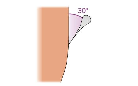 Tieni la lama del rasoio a mano libera con un angolo di 30°